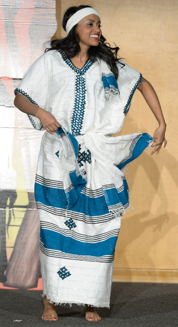 Muluwerk Hale, Miss Ethiopia, performs a traditional dance, in the Miss Africa Utah Pageant 8 March 2014